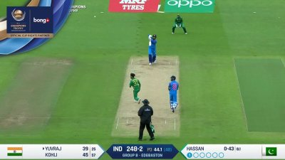 Yuvraj 6th four - SunChips In-match - IND vs PAK - CT17 - Match 4
